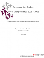 Seniors Action Quebec Focus Group Findings 2015 - 2016